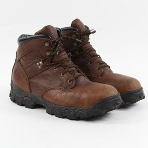 "Rocky Shoes - Rocky Men's R6003 Steel Toe 6"" Brown Leather Lace"